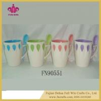 Buy cheap Ceramic Soup Mug with Lid and Saucer and Spoon Ceramic Embossed Mugs from wholesalers