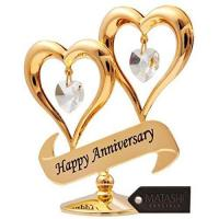 China Matashi 24K Gold Plated Happy Anniversary Double Heart Table Top Ornament With Clear-Cut Crystals on sale