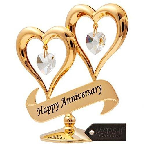 """Quality Matashi 24K Gold Plated """"Happy Anniversary"""" Double Heart Table Top Ornament With Clear-Cut Crystals for sale"""