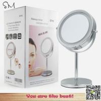 China LED lighted 5X enlarge 360 degree Rotation round desktop Preffesional makeup mirror wholesale