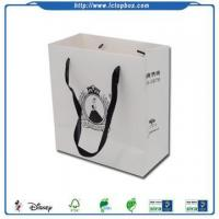 Buy cheap White custom shopping paper bag with handle from wholesalers