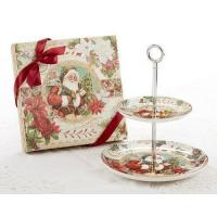 China Holiday Sale Items Victorian Christmas Santa 2-Tier Dessert Stand in Matching Gift Box wholesale
