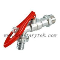 China Code: V26-006A Ball hose bibcock with lockpad eye,red steel handle wholesale