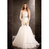 Mermaid Strapless Court Train Folding Wedding Dress with Artificial Diamond Studded