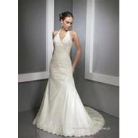 China Halter A-line Wedding Dress with Chapel Train wholesale