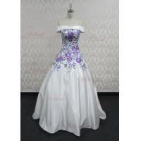 Buy cheap Beautiful off shoulder purple applique white wedding dress ball gown from wholesalers