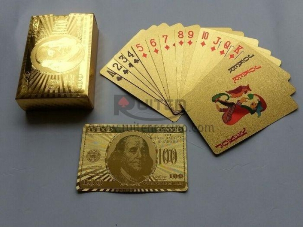 Quality US Dollar Style Gold Foil Playing Cards for sale