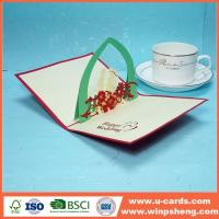 China Beautiful 3d Flower Pop Up Anniversary Card Design on sale