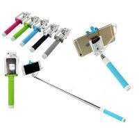 China Monopod Wired Cable selfie Stick with Rearview Mirror and Foldable Phone Holder wholesale
