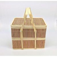 Portable Double-layer Rectangular Bamboo Box