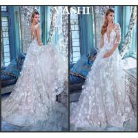 China Flora Lace Bridal Gowns Sheer Long Sleeves Wedding Dress Gv20172 wholesale