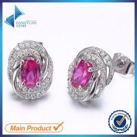 Buy cheap Chinese 925 silver pink large cubic zirconia stud earrings from wholesalers