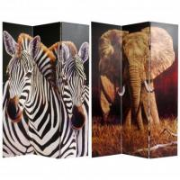 China 6 ft. Tall Elephant and Zebra Canvas Room Divider wholesale
