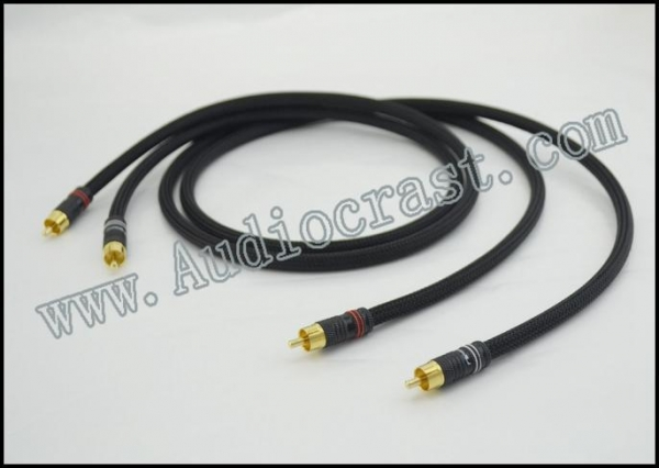 Quality Audiocrast OFC-2 RCA Cable With 24K Gold Plated Nakamichi RCA Plug for sale