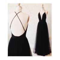 Buy cheap Sexy Black Tulle Straps Evening Dress 2016 Deep V-neck Open Back Prom GownItem Code: CE0078 from wholesalers