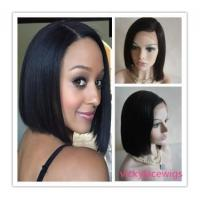 Celebrity bob style silky straight color #1b glueless free parting wig-GLW12