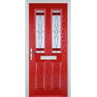 Buy cheap 2 Panel 2 Arch Crystal Harmony Composite Front Door in Poppy Red from wholesalers