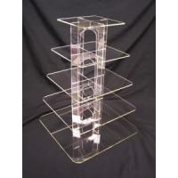 China Acrylic Counter Displays 5 Tier square clear acrylic cup cake candy pastry display wholesale