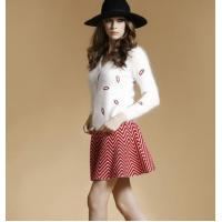 China Mink cashmere ladies skirt suits with lips pattern beads cardigan sweater on sale