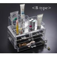 China cheap price crystal cosmetic display holder with draw/plastic makeup storage boxes wholesale