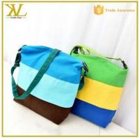 China 2015 stripe canvas bag messenger bag lady, trendy canvas sling bags for women wholesale