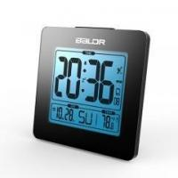 China Atomic Alarm Clock with Time Calendar Function DST Temperature Display Blue Backlight wholesale