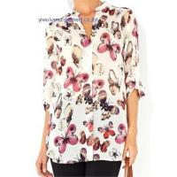 China 2014 fashion printed chiffon V collar ladies chiffon shirts blouse tops wholesale