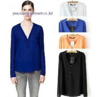 China Sexy ladies chiffon shirts blouse V neck long sleeve shirts woman wholesale