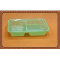 China New plastic disposable green PP blister container for meal,3 compartments PP food box wholesale