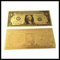 Buy cheap 24k gold foil US currency banknotes, Golden craft gold plated gift one sided banknote from wholesalers