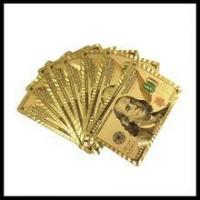 China $100 currency playing card gold foil USD 100banknote poker 24k gold foil playing card wholesale