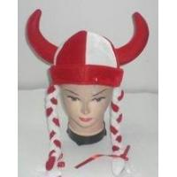 China Novelty velour ox horn hat with red / white braids wholesale