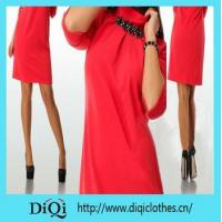 Buy cheap Dress Womens dress half sleeve red casual o neck clothing dress from wholesalers
