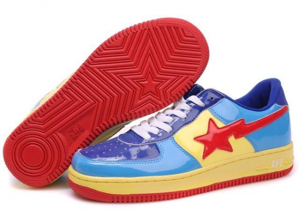 Quality Bape Cartoon shoes blue / yellow / red for sale