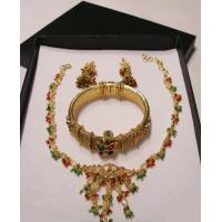 China 24K Gold plated necklace set with colored stones - ON SPECIAL !! wholesale
