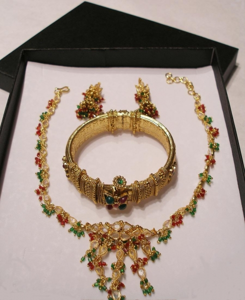 Quality 24K Gold plated necklace set with colored stones - ON SPECIAL !! for sale