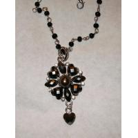 China Necklace with black crystal heart pendant wholesale