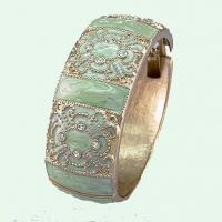Buy cheap Bangle 18K gold plating & marbleized light green on top from wholesalers