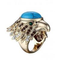 China 24k Gold Plated Turquoise Eagle Head Ring on sale
