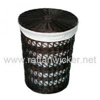 China Willow wicker lined black laundry baskets, willow laundry hampers, LH2005-RO wholesale
