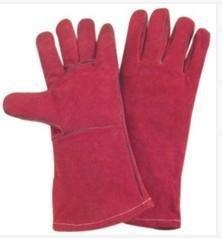 Quality Light Weight Red fully lined Cow Split Leather Work Gloves With Kevlar Yarn Stitched for sale