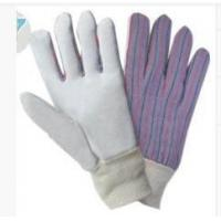 China Cow Split Leather Work Gloves With Striped Cotton Back For Automotive Manufacturing wholesale