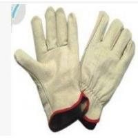 China XXL Light Yellow Cow Split Leather Gloves With Wing Thumb For Refuse Collection wholesale