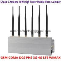 Buy cheap 6 Antenna 10W High Power Mobile Phone 2G GSM 3G 4G LTE WIMAX Jammer 15M Isolator from wholesalers