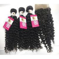 Buy cheap 100% Unprocessed Virgin Peruvian Hair Natural Curly Hair Extensions with Lace Frontal #97202 from wholesalers