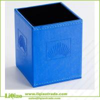 China Square PVC blue pen container on sale