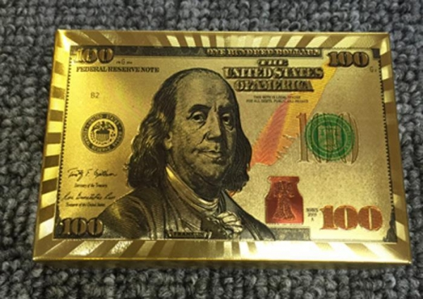 Quality Dollar Design 24K Gold Plastic Playing Cards for sale