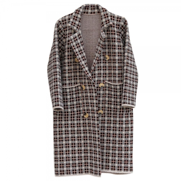 Quality Women's Thick Plaid Knitted Long Cardigan Sweater Winter-OC001 for sale