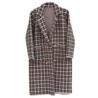 China Women's Thick Plaid Knitted Long Cardigan Sweater Winter-OC001 wholesale