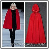 High Quality Designer Women Clothes Winter Wool Cashmere Hooded Cape Outerwear